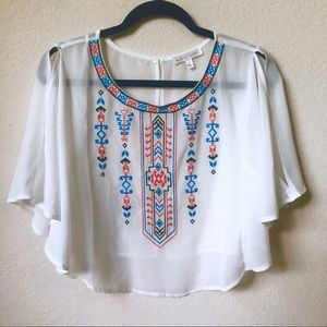 Jealous Tomato | Embroidered Crop Top | White
